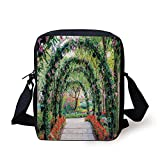 Country Home Decor,Flower Arches with Pathway in Ornamental Plants Garden Greenery Romantic Picture,Green Red Print Kids Crossbody Messenger Bag Purse