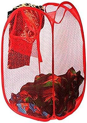DeoDap Laundry Hamper Mesh Fabric for Ventilation Foldable Storage Pop Up Clothes Basket