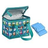 Teamook, borsa termica per il pranzo, 1 pezzo, 6 lattine con 3 mini blocchi congelatore