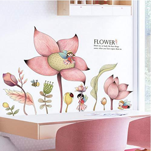 Jkxiansheng Adesivi Murali Grande Fiore Rosa Bel Fiore Fata Decalcomanie Soggiorno Camera Da Letto Della Ragazza Tv Divano Sfondo Decalcomanie Della Parete Murale