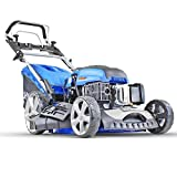 Hyundai 196 cc Self Propelled Electric Push Button Start Petrol Lawn Mower, Blue, 51cm Cut Start &...