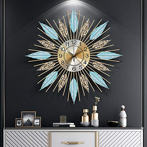 Olz Grand Rayon de Soleil Horloge Murale, Design Moderne Décoration d'intérieur Mur Regarder Salon Chambre Sourdine Horloge Murale Métal Horloge Murale numérique,d'or,58CM