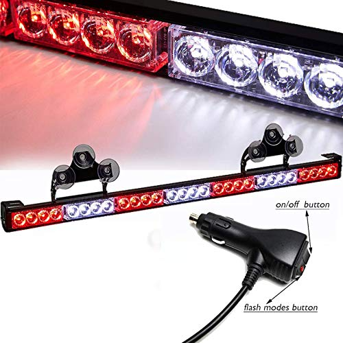 SmallfatW 32 Inch 28 LED Hazard Emergency Warning Traffic Advisor Flash Strobe Light Bar with Cigar Lighter and Suction Cups (Red/White)