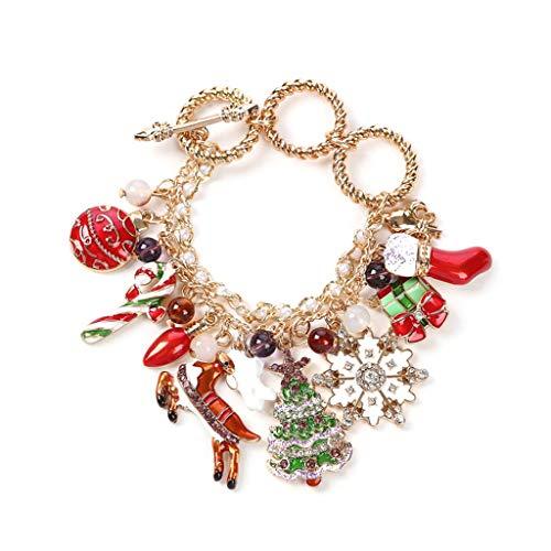 JIACUO Feliz Navidad Elemento Pulsera DIY Xmas Tree Candy Cane Goldtone Pretty Decor