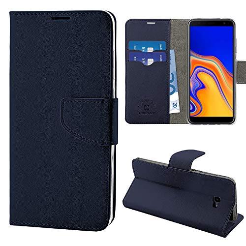 N NEWTOP Cover Compatibile per Samsung Galaxy J4 Plus, HQ Lateral Custodia Libro Flip Chiusura Magnetica Portafoglio Simil Pelle Stand (Blu)