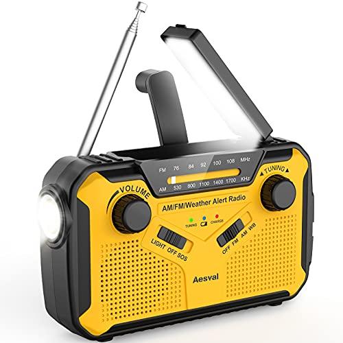 防災ラジオAesval 3000mAH 充電式ラジオライト 防災ソーラーラジオ 手回しラジオ 多機能 懐中電灯 AM/FM携帯ラジオ SOSアラート付き USB充電 ソーラー 充電 手回し 乾電池対応 多機能 防水 地震 震災 津波 台風などの緊急に対応