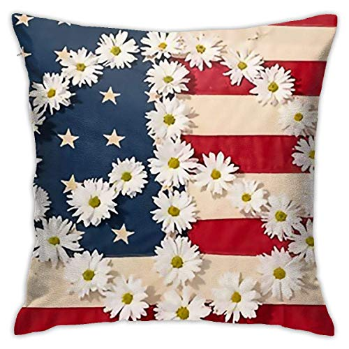 Yuantaicuifeng Polyester Throw Almohada American Flag Peace Sign Small Daisy Almohada Covers...