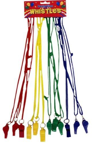 Plastic Fluitje Op Gekleurd Koord 12/Card