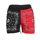 Pantalones Cortos Estampados con Bloques de Color de Retazos para Hombre, Pantalones Cortos Deportivos Sueltos para Correr al Aire Libre, Baloncesto de Moda, Verano 4XL
