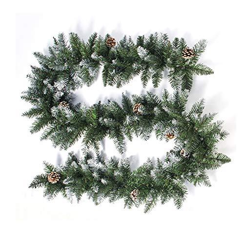 Meiwash Guirnalda de Navidad 270CM Coronas de Navidad PVC Guirnalda Artificial Verde,8 Conos de Pino Guirnaldas de Abeto,Adornos para Puertas Accesorios de Chimenea Boda Decoración de Fiesta Familia