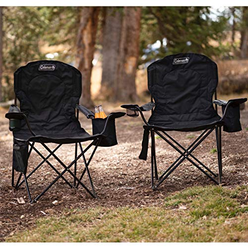 Coleman Camp Chair with 4-Can Cooler | Folding Beach Chair with Built In Drinks Cooler | Portable Quad Chair with Armrest Cooler for Tailgating, Camping & Outdoors , Black, Roomy seat: 24