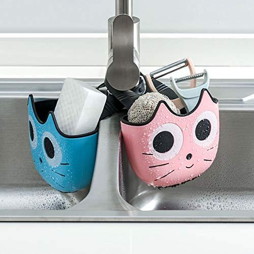 Sponge Holder for Sink MagicFox 2 Pack Kitchen Sink Caddy Sponge Holder with Adjustable Strap-Hanging Drain Basket for Kitchen Bathroom Workplace Organizer 2pcs