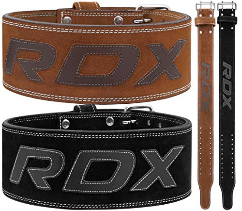 RDX Powerlifting Belt for Weight Lifting Approved by IPL and USPA Double Prong Gym Training Leather Belt 10mm Thick 4 inch Lumbar Back Support - Great for Strongman, Bodybuilding, Deadlifts & Squats