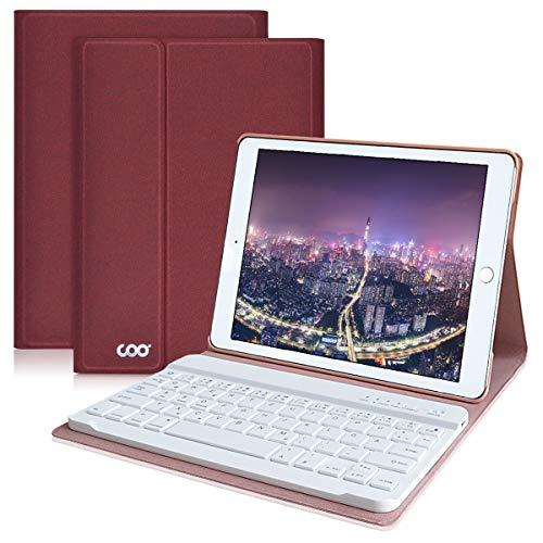 COO iPad Hülle Tastatur, 9,7 Zoll Neu iPad 2018/2017/Pro 9.7/Air 2/1 Keyboard Case mit Multi-Engel Stand und Deutsches QWERTZ Tastatur Layout - ipad Smart Case mit Auto Schlaf/Wachen (Weinrot)
