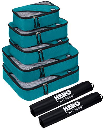 HERO Packing Cubes (5 Set) - Travel Organizers with 2 Bonus Laundry Bags - Includes Ebook on How To Pack A Suitcase by Asher & Lyric
