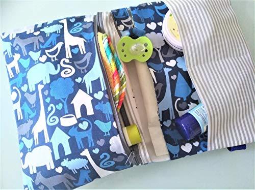 Wickeltasche, Windeltasche XXL mit Namen bestickbar für unterwegs/handmade, ds-handmade dawanda Jungen in blau