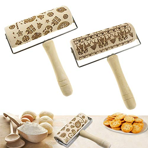 Embossed Rolling Pins with Handle,Wooden Engraved Rolling Pin DIY Christmas Cookie Rolling Pin with Christmas Pattern for Kids and Adults,Baking Pastry