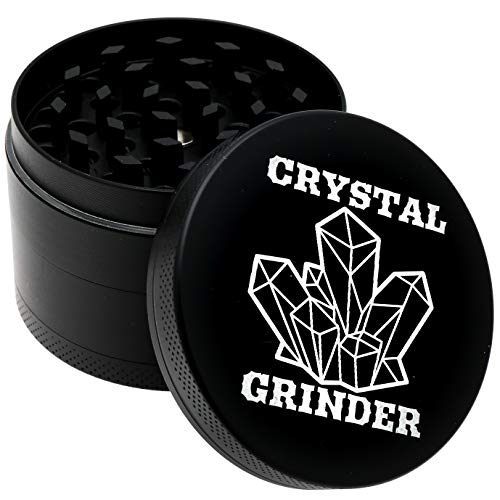 """4 Piece 2"""" Grinder The Best Premium Advanced Herb Spice Grinder With Pollen Catcher - Diamond Black"""