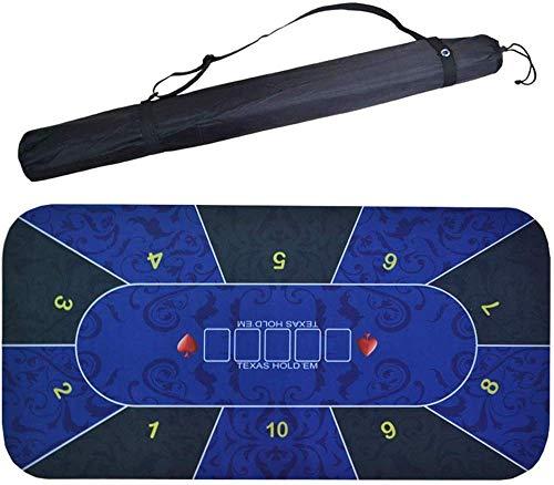 MGIZLJJ 180x90cm bewegliche Gummischaum-Poker Table Top Layout-Poker-Matte (Color : Blue)