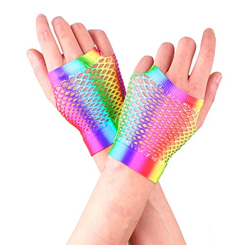 YiZYiF Colorful Dazzling Retro Fishnet Fingerless Gloves for Women Girl 80s Costume Party Supplies Short One Size
