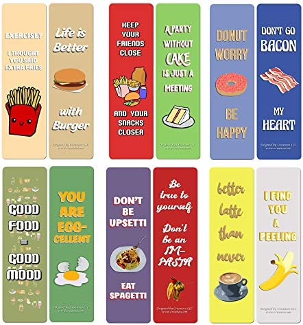 Creanoso Funny Food Sayings Bookmarks 30 Pack Six Assorted Quality Bookmarker Cards Bulk Set product image