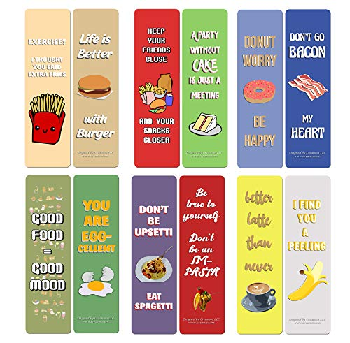 Creanoso Funny Food Sayings Bookmarks (60-Pack) – Premium Gift Set – Awesome Bookmarks for Adult Men & Women, Teens, Food Lovers– Six Bulk Assorted Bookmarks Designs – Business Giveaways