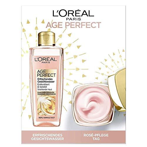 L'Oréal Paris Geschenk-Set mit Gesichtswasser und Tagespflege, Age Perfect Golden Age, Anti-Aging Gesichtspflege mit Pfingstrosen-Extrakt