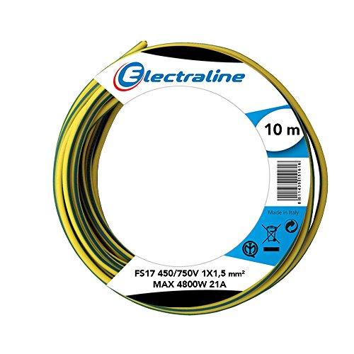 Electraline 13101Cable unipolar FS17, sección 1x 1.5mm², Amarillo/Verde, 10m