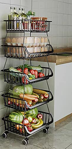 popular 5 Tier Fruit Vegetable Basket Cart,Metal Wire Storage Baskets Rack with Wheels, Vegetable Organizer Produce Storage bins Holder Shelf, Rolling Vegetable Rack discount for outlet online sale Kitchen, Pantry, Bathroom sale