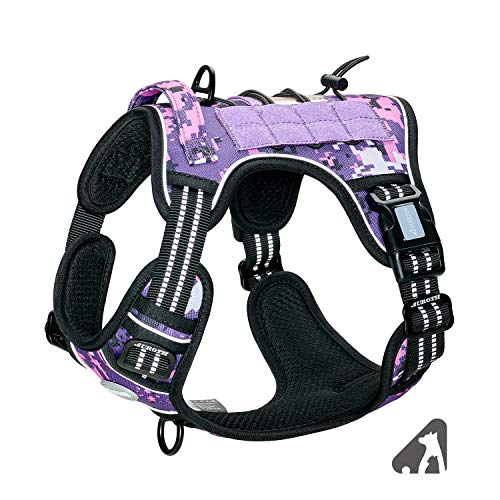 Auroth Tactical Dog Training Harness No Pulling Front Clip Leash Adhesion Reflective K9 Pet Working Vest Easy Control for Small Medium Large Dogs Purple Camo M
