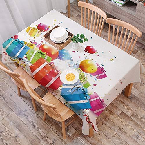 Tischdecke abwaschbar 140x200 cm,Geburtstag Dekorationen, Überraschungsboxen mit Fliegen Konfetti Regen Luftballons Feierliche Einri,Ölfeste Tischdecke, geeignet für die Dekoration von Küchen zu Hause