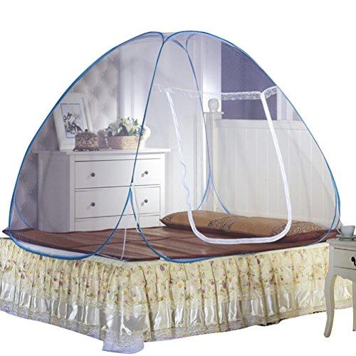 YOUJIA U-Forme Fermeture éclair Nets Yurt Tente Moustique Moustiquaire Baldaquin Moustiquaire Tente de lit Bleu 1.5 * 2 * 1.5m