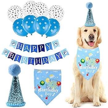 Qiraoxy Fournitures de Fête d'anniversaire de Chien de Compagnie Chapeau Bandana Joyeux Anniversaire Bannière Ballons Ensemble