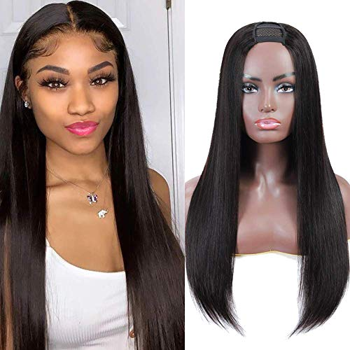 Fine Plus U Part Wig Human Hair Wigs for Black Women Straight Human Hair Wigs 100% Brazilian Glueless Full Head U-part Hair Extension Clip in Half Wig (18 inch)