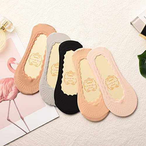 YYUUEE Unsichtbare Ice Silk Socken Nahtloses Wellenmuster Atmungsaktiv 5 Paar Socken Frauen Dickes Silikon rutschfeste Socken Unter Schuhen
