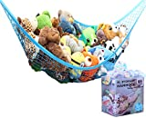 MiniOwls Toy Hammock Organizer - Toy Net Storage for Stuffies Space Saver. Corner Shelf to Display Collectible Toys. Ocean Bright Décor Accent. (Blue, X-Large)