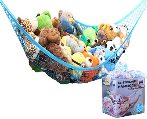 MiniOwls Toy Hammock Organizer - Toy Net Storage for Stuffies Space Saver. Corner Shelf to Display Collectible Toys. Ocean Bright Dcor Accent. (Blue, X-Large)