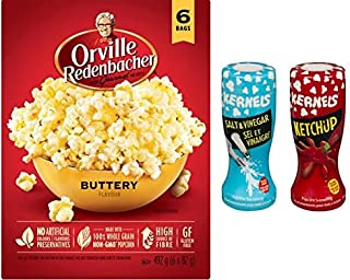 Canadian Favorite - Orville Redenbacher's Buttery, 6 count with Kernel's Ketchup, Salt and Vinegar Popcorn Seasoning {Imported from Canada}
