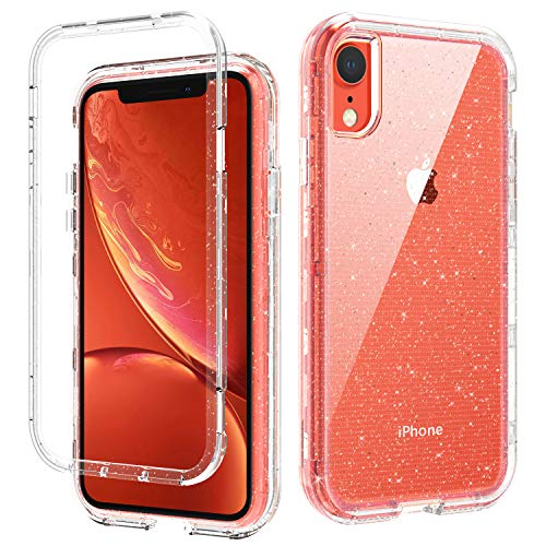 DOMAVER iPhone XR Cases, iPhone XR Case Three Layer Heavy Duty Hybrid Hard PC Flexible TPU Bumper Shockproof Clear iPhone XR Phone Case Protective 10 XR iPhone Case Cover with Glitter Bling Design