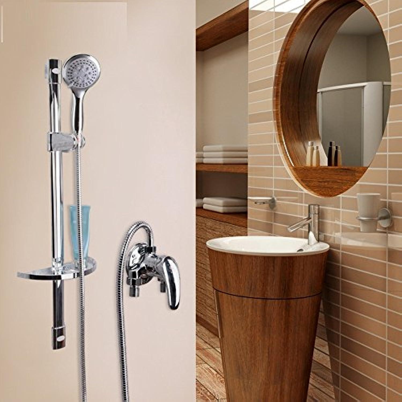 Bijjaladeva Wasserhahn Bad Wasserfall Mischbatterie Waschbecken Waschtisch Armatur für BadWand-Einfache Dusche Wasserhahn Warmes und Kaltes Sprühkopf mit Handheld zu Heben Dusche