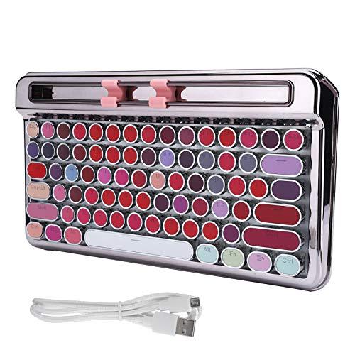 【𝐑𝐞𝐠𝐚𝐥𝐨 𝐝𝐞 𝐍𝐚𝒗𝐢𝐝𝐚𝐝】 Teclado de computadora, Teclado mecánico de Alta Velocidad, cómodas Luces LED portátiles integradas Smartphones para computadora de Escritorio(Noble Silver-Lipstick