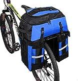 Kayboo 70L Borsa per Bicicletta Multifunzionale 3 in 1, Portapacchi Posteriore Impermeabile e Rimovibile con Copertura Anti Pioggia per Ciclismo (Blu)