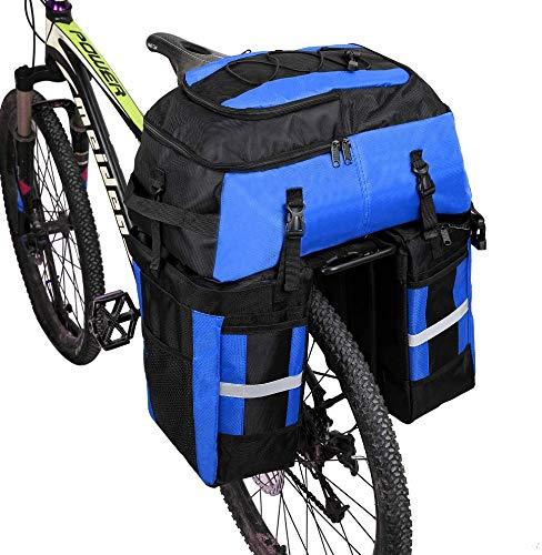 Kayboo 70L MTB Bike wasserdichte 3-in-1-Fahrradtasche hinten Packtaschen Fahrradträgertasche mit Regenschutz (Blau)