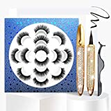3D Magnetic Eyelashes with Eyeliner Kit, 7 Pairs Pack Reusable False Lashes, 2 Tubes of Waterproof Eyeliners with Tweezer Inside, Invisible Magnets Wear More Comfortable, No Additional Glue Needed