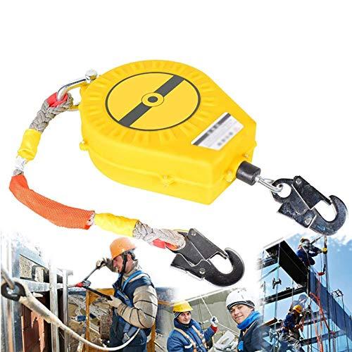 Dispositivo Retractil Anticaidas con Cuerda de Alambre y Gancho, Doble Capa de Protección, MAX - 30m, Ideal para Trabajos Aéreos, Carga-150kg10m