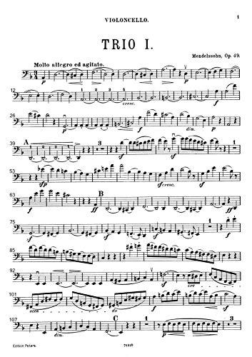 『楽譜 pdf メンデルスゾーン ピアノ三重奏曲第1番 ニ短調 Op. 49 全パート譜セット』の3枚目の画像