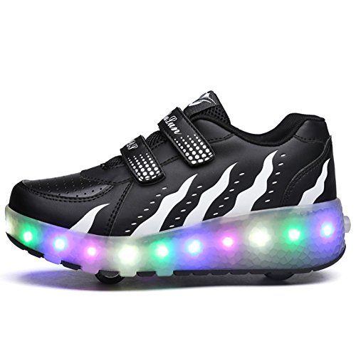 Unisex Kinder Roller LED Schuhe Leuchten Doppelräder Skateboard Turnschuhe Outdoor Sports Training Rollschuh Schuhe für Jungen Mädchen (38 EU, Schwarz und Weiß)