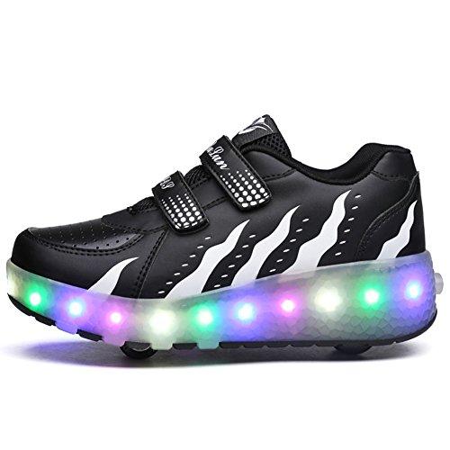 Unisex Kinder Roller LED Schuhe Leuchten Doppelräder Skateboard Turnschuhe Outdoor Sports Training Rollschuh Schuhe für Jungen Mädchen (39 EU, Schwarz und Weiß)