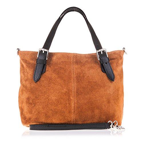 FIRENZE ARTEGIANI. Vera pelle signora borsa shopping bag. Borsa Shopping piccola borsa finitura in vera pelle scamosciata. MADE IN ITALY. VERA PELLE ITALIANA. 28x22x12 cm. colore: cammello