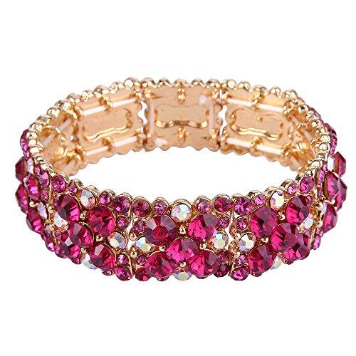 EVER FAITH Pulsera Brazalete Elástica Mujer Redondo Cristal Austríaco Elegante Boda Color Fucsia Tono Dorado
